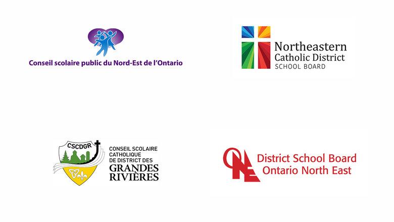Logos - Conseil scolaire catholique de district des Grandes Rivières (CSCDGR), Northeastern Catholic District School Board (NCDSB), Conseil scolaire public du Nord-Est de l'Ontario (CSPNE), District School Board Ontario North East (DSBONE)